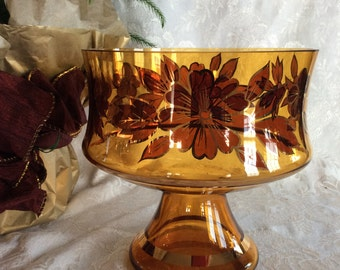 Vintage Bohemian amber glass fruit bowl trifle dessert dish or compote with floral pattern and gold