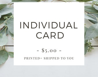 Printing Service - Any Individual Card (A1 Size) To Be Printed + Shipped To You, Includes Coordinating Envelope
