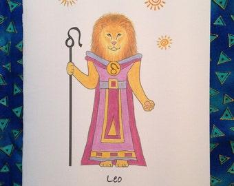 Leo Astological Greeting Card - Leo Zodiac Greeting Card - Astrological Leo Greeting Card