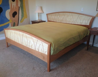Bed Frame King Size, Headboard, Platform Bed, Queen, Handmade, Wood, Custom Size, Bedroom, New Home, Remodel, Cherry, Curly Maple, Inlay
