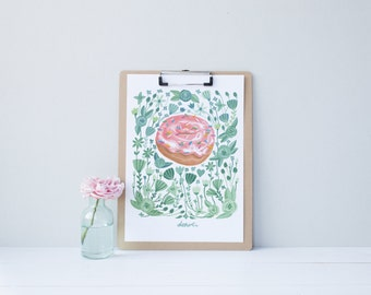 Go Nuts for Donuts Pastry Illustration Print 5x7