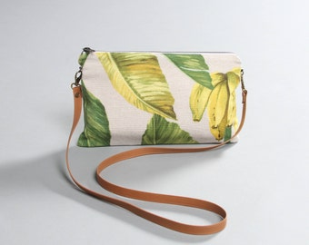 Summer Crossbody Bag, banana plant bag, beach bag, tropical bag, leather strap, summer bag, lagut, leaves shoulder bag, banana clutch bag