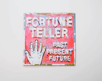 fortune teller sign,neon sign photo,vintage neon sign,fortune teller print,retro art,carnival art,neon art,mid century modern,amusement art