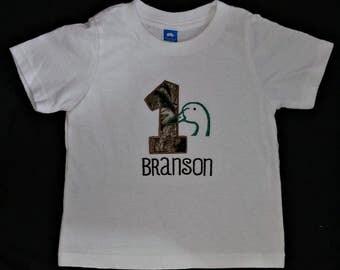 Custom appliqued duck hunting birthday shirt
