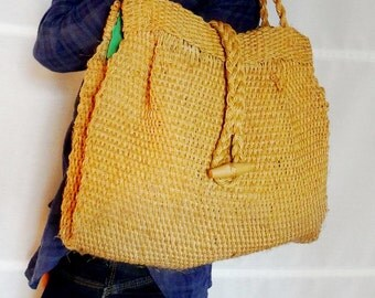 Vintage wicker handbag satchel bag natural wicker tote bag woven womens sisal bag wicker market bag canvas tote bag vintage