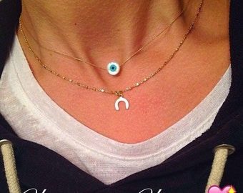 Evil Eye Necklace, Evil Eye Charm, Protection Necklace, Horseshoe Necklace, Gold Horseshoe Necklace, Wish Luck Necklace.