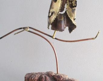 Mid Century Brutalist Metal Owl Sculpture