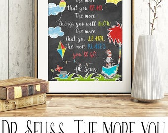 Dr Seuss - The more you read, the more you know, the more you learn, the more places you'll go.  Digital Print