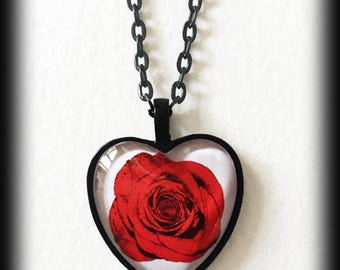 Rose Heart Necklace, Red Rose Red Heart Pendant, Glass Cameo Necklace, Victorian, Rockabilly Necklace, Valentine Gift, Handmade Jewelry