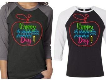 100th Day of School Shirt|Baseball Raglan 100th Day Shirt|Happy 100th Day|100 Days of school teacher shirt