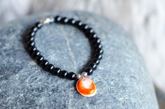 "Black Onyx men's bracelet ""CASTAGNOLE"" : onyx beads and stainless steel beads, eye of Santa Lucia - Stretch Bracelet"