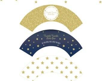 Twinkle Little Star Cupcake Wrappers,Twinkle Little Star cupcake labels,navy and gold Twinkle Little Star baby shower,printable star cupcake