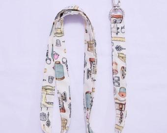 Sewing Notions Seamstress Lanyard - PLAIN - ID Holder - Keychain