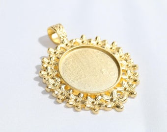 53mm Gold Plated Cabochon Setting, Pendant Tray, Bezel Settings,SKU/TR44