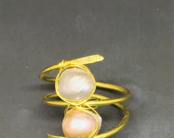 Brass and pearl wrap ring - size 8