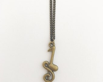 Handmade Music Note Charm Gun Metal Bronze Coated Necklace