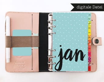 Divider Month English & German / Filofax Personal / PRINTABLE / PDF / Filofax Inserts / Filofax Printables / Divider / Instant Download