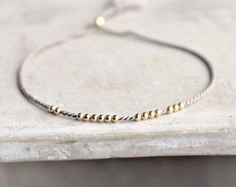 Silk bracelet. Minimalist silk bracelet. Gold silk bracelet. Silver Rope bracelet. Friend bracelet.  pease jewelry