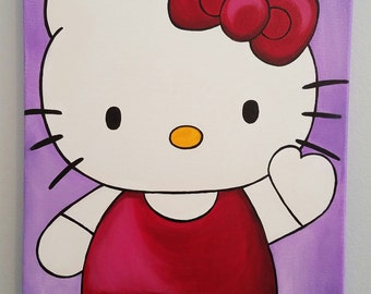 "Hello Kitty Acrylic Painting 12"" x 16"" Stretched Canvas"