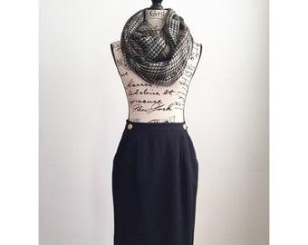 Vintage Navy Blue Skirt, Vintage Knee Length Skirt, Skirt with Gold Buttons, Vintage JH Collectibles Skirt, Vintage Skirt with Pockets