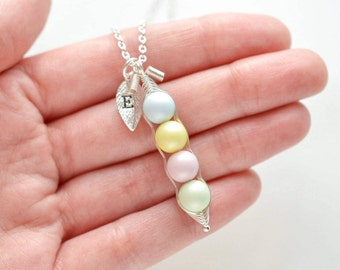 Pastel Peas in a Pod Necklace, Easter Necklace, Easter Jewelry, Bridesmaids Necklace, Kawaii Cute Jewelry, BFF Necklace, Best Friend Gift