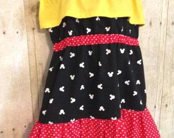 Girls Mickey Mouse Inspired Dress, Gypsy Dress, Girls Disney Dress