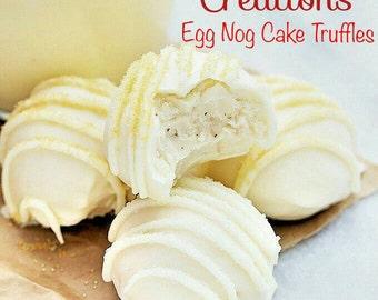 Eggnog Cake Truffles - Fresh homemade Cake Ball Truffles with Egg Nog Creamy truffle filling. 12 Truffles Holiday, Christmas Gift, present