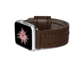 Brown Leather Apple Watch Band 38mm - 42mm / Apple Watch Accessories, Leather Apple Watch Strap, iWatch Band Leather, Lugs Adapter