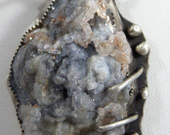 Calcedony Pendant with Spiderweb Jasper Gemstone Necklace