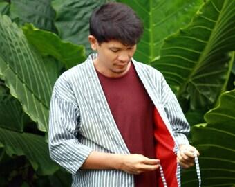 """Fine Cotton Men's Kimono Jackets """"Kimeno Kimono"""", Narrow Sleeves, Japanese Inspired Kimono Hanten to Instantly Upgrade Your Style"""