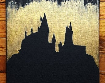 Hogwarts Gold Canvas, 12x12, Harry Potter, Fantastic Beasts, Castle, Negative Space, Ink Painting, Canvas Signs, Wall Art, All Was Well