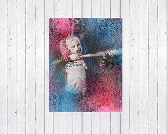 SUICIDE SQUAD, harley quinn, margot robbie, blue and pink, Watercolor Print, Movie Quotes, Supervillians, the joker, Cult Movies