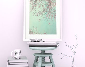 Photo ARTPRINT 'DAYDREAMER' Cherrybranches with vintage pink blooms/flowers on mint sky in spring by Monika Strigel