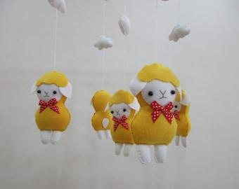 Baby crib mobile, Baby felt mobile, Baby nursery mobile,Baby Mobile, Baby sheep mobile