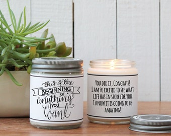 This is the Beginning of Anything You Want Candle Greeting - Graduation Gift   Congratulations Gift   New Endeavor Gift   Inspiration Gift