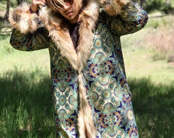 NEW! Sultan Tales Festival Faux Fur Coat Reversible Bohemian Tribal Fashion Clothing Coat Jacket Party Men's Fur Traditional