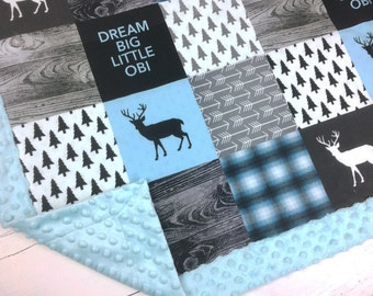 PERSONALIZED baby minky blanket, boy child blanket, lumberjack blanket, deer woodland blanket, rustic outback blanket, baby shower gift