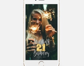 LIMITED TIME! Snapchat Geofilter Birthday, Snapchat Birthday Geofilter, 21st Birthday Gift for Her, Birthday Filter, Gold Balloons bir10