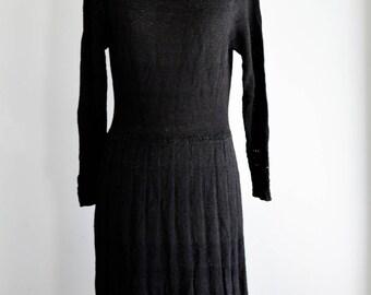 "1920's Knit Dress|1930s Knit Dress/Waist 28"""