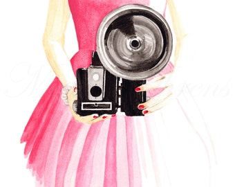 Retro Photography Fashion Illustration Print, Vintage Camera Watercolor Art Print, Vintage Inspired Giclee Print, 8X10 Decor