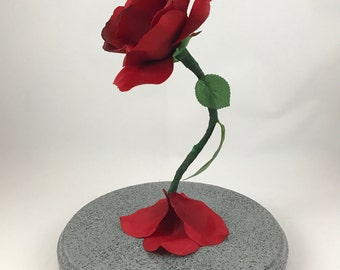 Beauty and the Beast Rose, Enchanted Rose, Life Size Rose, Light Up Rose, Enchanted Rose, Rose in Glass Dome, Red Rose