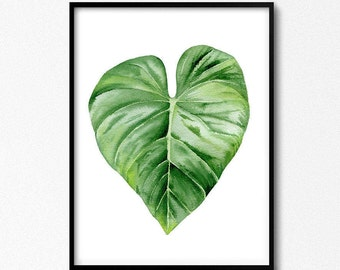 Green Leaf, Botanical Print, Nature Inspired Art, Living Room Art, Tropical Poster, Leaves Watercolor, Tropical Watercolor, Green Artwork.
