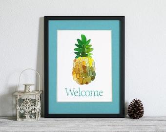 "Sea Glass Pineapple ""Welcome"" Print - 11x14"" mat with 8x10"" Seaglass Mosaic Print"