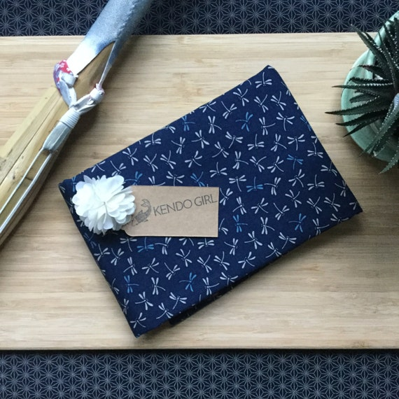 Custom Sword Carrying Bag for Japanese Martial Arts - Kendo Iaido Naginata - Navy Blue Tonbo by Kendo Girl ~ Imported Sevenberry Fabric ~
