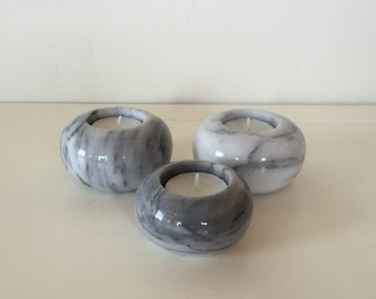 Marble/Alabaster Candle Holders Set of Three!