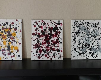 "Abstract Triptych ""Maps"" Set of 3 paintings."