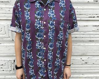 90s Style Gap Purple Blue Hawaiian Floral Stripe Button Up Short Sleeve Shirt - Medium