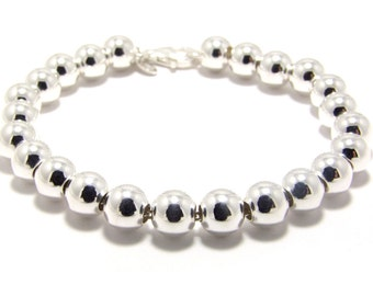 8mm Sterling Silver Ball Bracelet Silver Beaded bracelet 8mm Silver Balls Bracelet Silver bead bracelet Wedding Jewelry Bridesmaid bracelet
