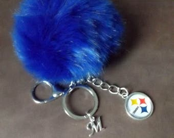 Pom Pom Pittsburgh Steelers Key Chain Keychain  Steelers Fan  with your choice initial NFL Football