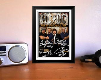 Angus Young ACDC Rock or Bust World Tour 2015 Concert Tour Flyer Autographed Signed Photo Print